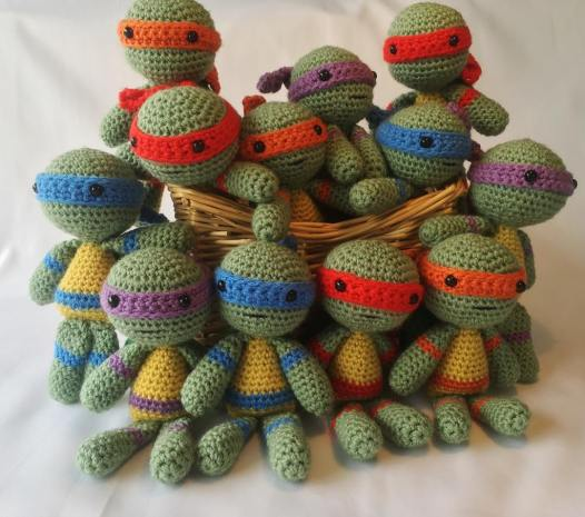 Crochet Teenage Mutant Ninja Turtle Set of all 4 crochet turtle ... | 466x526